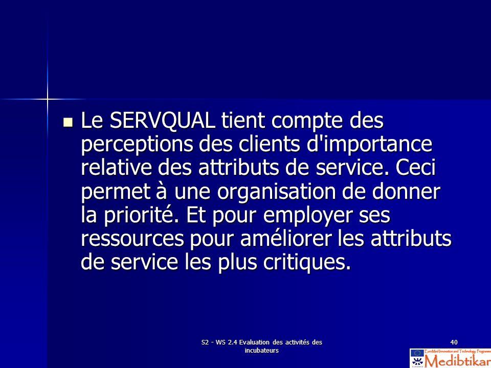 S2 - WS 2.4 Evaluation des activités des incubateurs 40 Le SERVQUAL tient compte des perceptions des clients d'importance relative des attributs de se