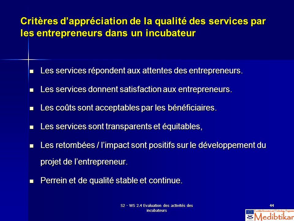 S2 - WS 2.4 Evaluation des activités des incubateurs 4444 Critères dappréciation de la qualité des services par les entrepreneurs dans un incubateur L