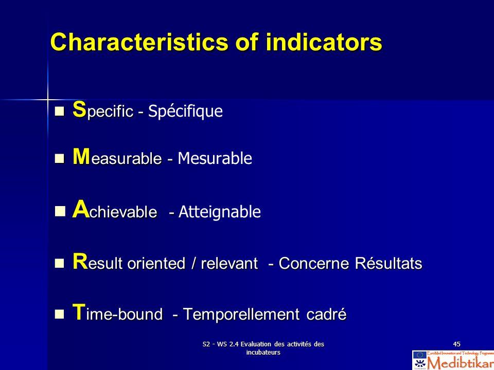 S2 - WS 2.4 Evaluation des activités des incubateurs 45 Characteristics of indicators S pecific - S pecific - Spécifique M easurable - M easurable - M