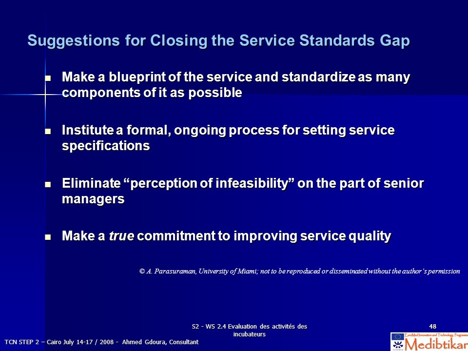 S2 - WS 2.4 Evaluation des activités des incubateurs 4848 Suggestions for Closing the Service Standards Gap Make a blueprint of the service and standa