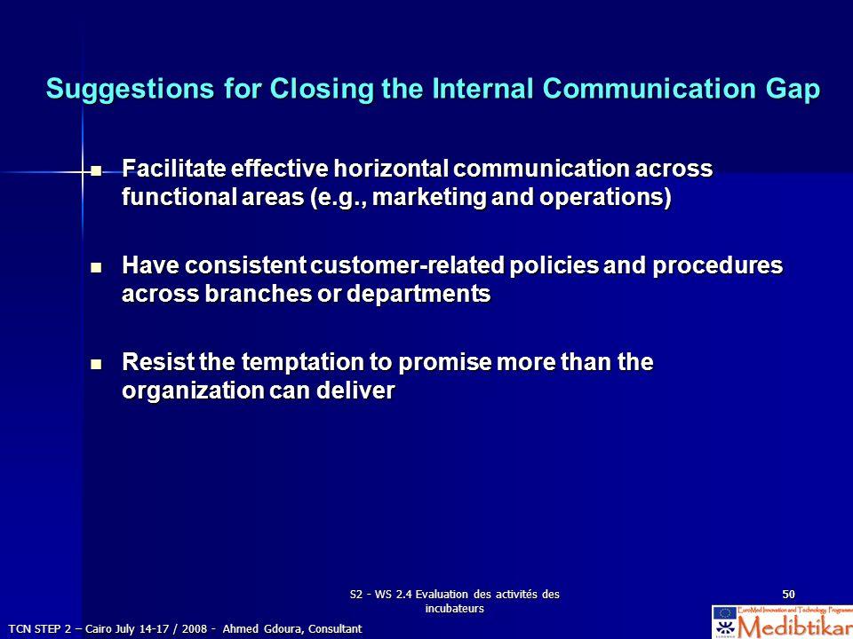 S2 - WS 2.4 Evaluation des activités des incubateurs 5050 Suggestions for Closing the Internal Communication Gap Facilitate effective horizontal commu