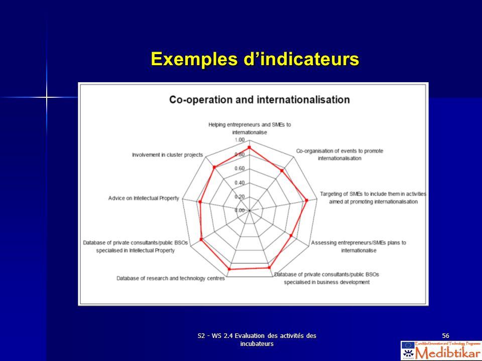S2 - WS 2.4 Evaluation des activités des incubateurs 56 Exemples dindicateurs