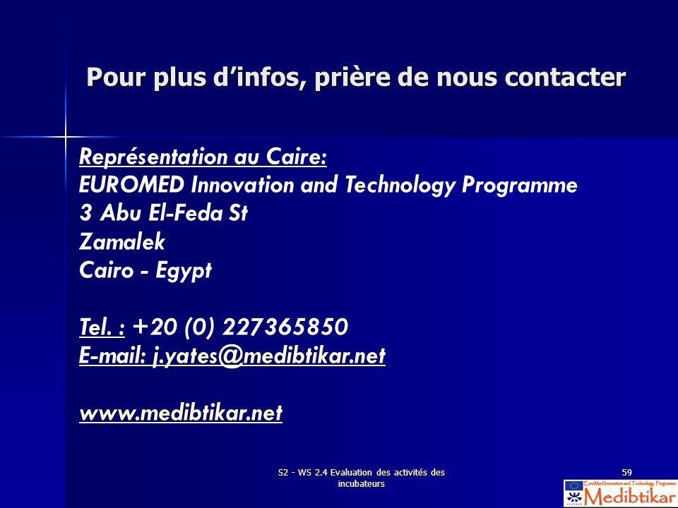 S2 - WS 2.4 Evaluation des activités des incubateurs 59 Pour plus dinfos, prière de nous contacter Représentation au Caire: EUROMED Innovation and Tec