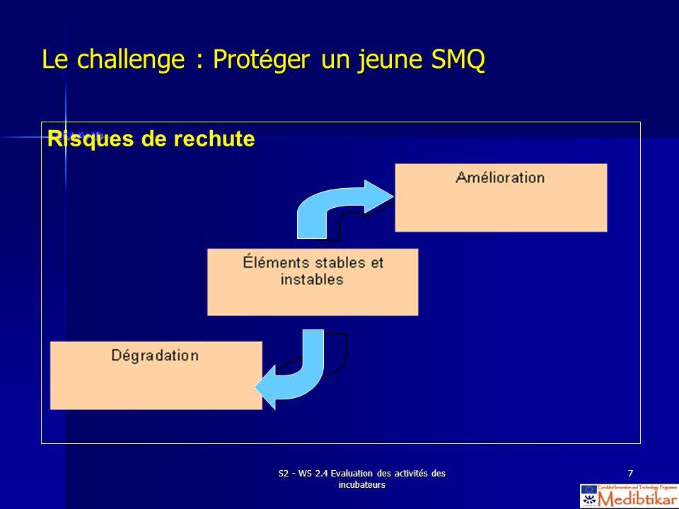 S2 - WS 2.4 Evaluation des activités des incubateurs 18 Implications des exigences de la norme ISO Lorganisme doit mener des audits internes à intervalles planifiés pour déterminer si le SMQ : a.
