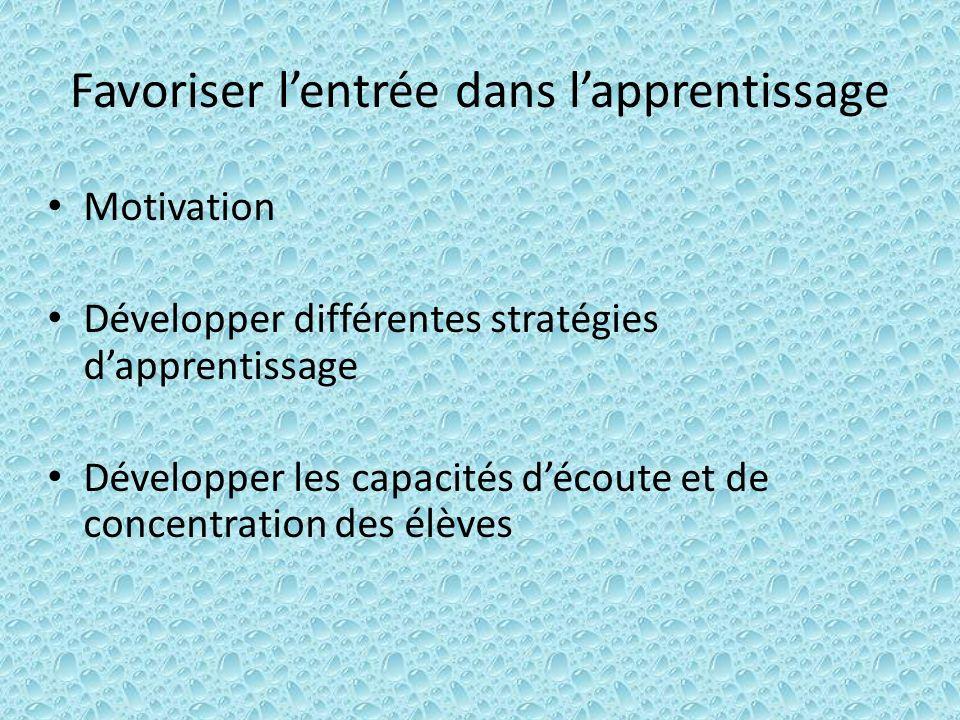 Favoriser lentrée dans lapprentissage Motivation Développer différentes stratégies dapprentissage Développer les capacités découte et de concentration des élèves