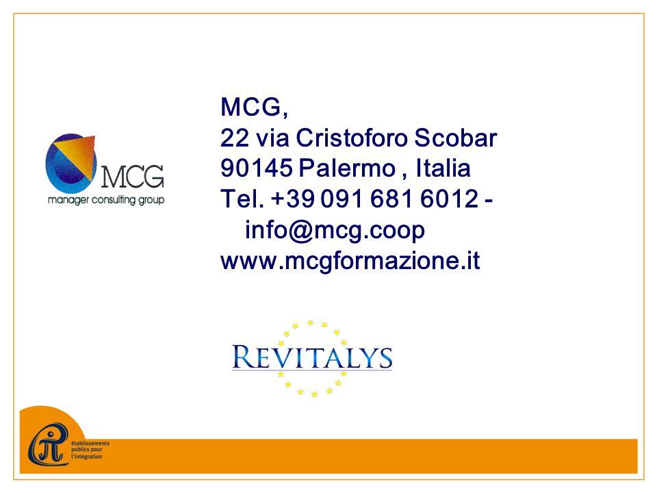 MCG, 22 via Cristoforo Scobar 90145 Palermo, Italia Tel. +39 091 681 6012 - info@mcg.coop www.mcgformazione.it