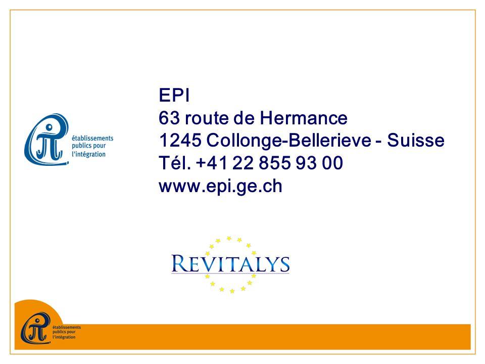 EPI 63 route de Hermance 1245 Collonge-Bellerieve - Suisse Tél. +41 22 855 93 00 www.epi.ge.ch