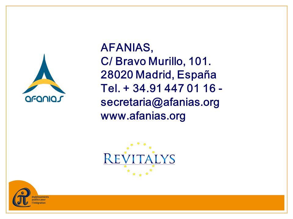 AFANIAS, C/ Bravo Murillo, 101. 28020 Madrid, España Tel. + 34.91 447 01 16 - secretaria@afanias.org www.afanias.org