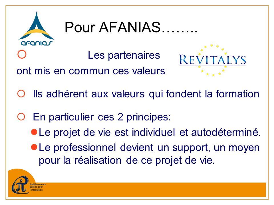 Pour AFANIAS…….. Les partenaires ont mis en commun ces valeurs Ils adhérent aux valeurs qui fondent la formation En particulier ces 2 principes: Le pr