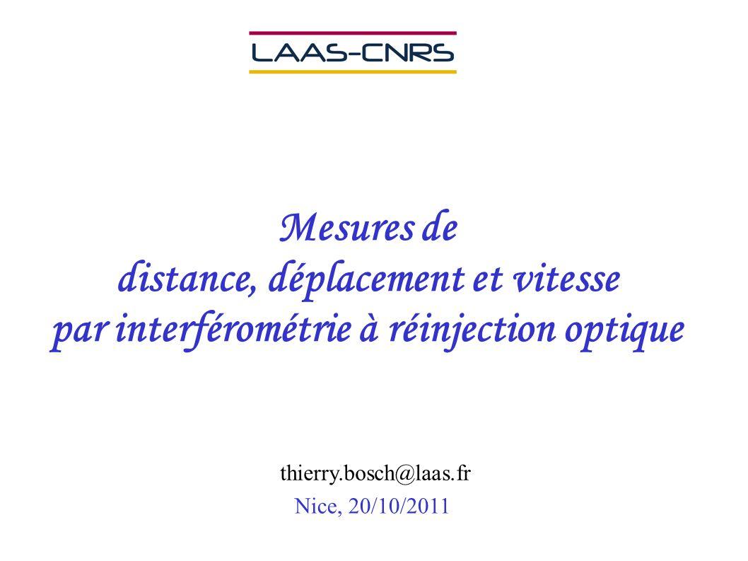 Mesures de distance, déplacement et vitesse par interférométrie à réinjection optique Nice, 20/10/2011 thierry.bosch@laas.fr