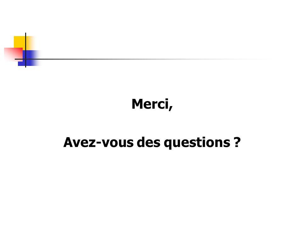 Merci, Avez-vous des questions ?