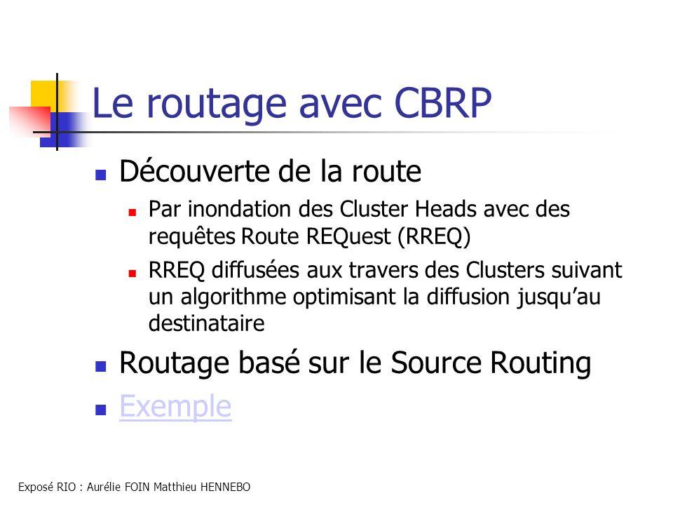 Le routage avec CBRP Découverte de la route Par inondation des Cluster Heads avec des requêtes Route REQuest (RREQ) RREQ diffusées aux travers des Clu