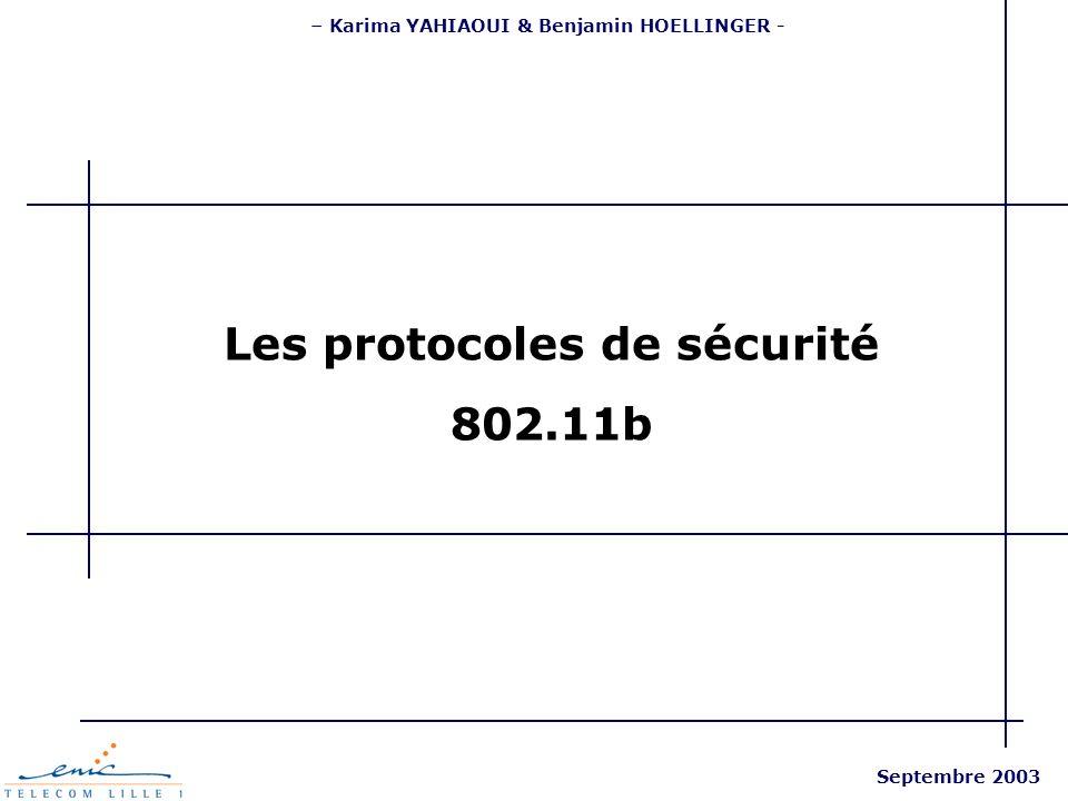 – Karima YAHIAOUI & Benjamin HOELLINGER - Septembre 2003 Les protocoles de sécurité 802.11b