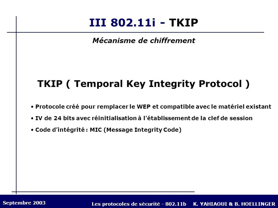 III 802.11i - TKIP TKIP ( Temporal Key Integrity Protocol ) Protocole créé pour remplacer le WEP et compatible avec le matériel existant IV de 24 bits