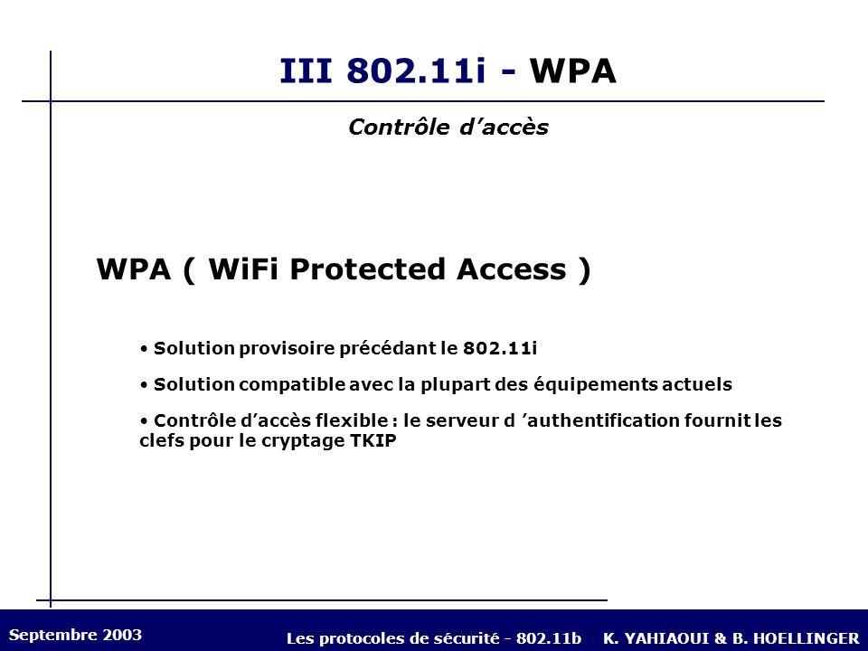 III 802.11i - WPA Contrôle daccès WPA ( WiFi Protected Access ) Solution provisoire précédant le 802.11i Solution compatible avec la plupart des équip