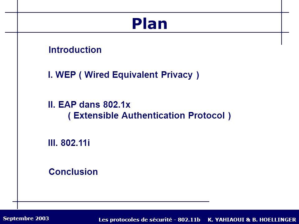 Introduction Généralités sur le WiFi Norme 802.11b Caractéristiques : débit de 11 Mb/s et gamme de fréquences 2,4 GHz Topologie multipoints sur IP Attaques classiques sur les réseaux sans fil Ecoute Brouillage Ajout / Modification de données Septembre 2003 Les protocoles de sécurité - 802.11bK.
