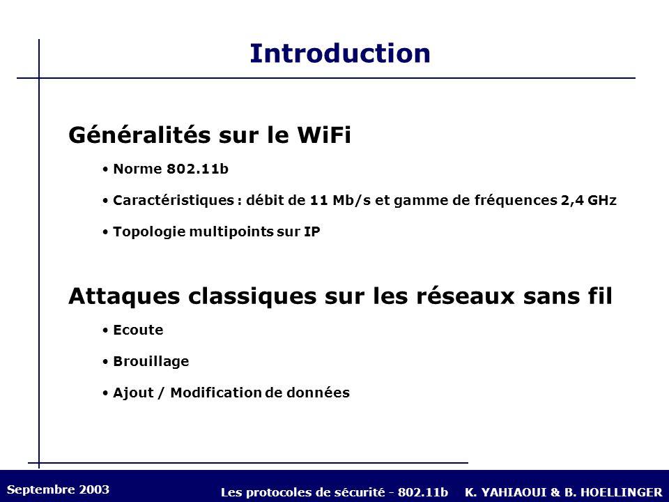 Introduction Généralités sur le WiFi Norme 802.11b Caractéristiques : débit de 11 Mb/s et gamme de fréquences 2,4 GHz Topologie multipoints sur IP Att