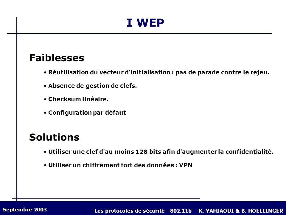 I WEP Faiblesses Réutilisation du vecteur d'initialisation : pas de parade contre le rejeu. Absence de gestion de clefs. Checksum linéaire. Configurat