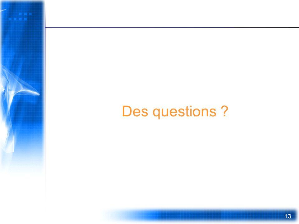 13 Des questions ?