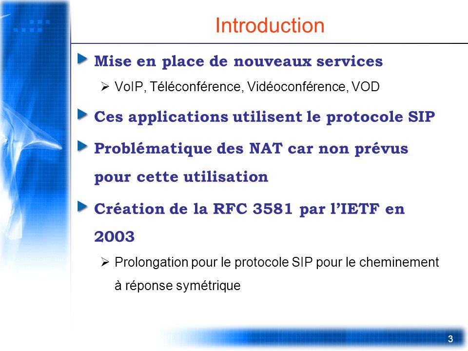 3 Introduction Mise en place de nouveaux services VoIP, Téléconférence, Vidéoconférence, VOD Ces applications utilisent le protocole SIP Problématique des NAT car non prévus pour cette utilisation Création de la RFC 3581 par lIETF en 2003 Prolongation pour le protocole SIP pour le cheminement à réponse symétrique