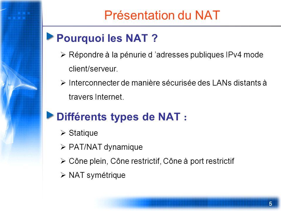 5 Présentation du NAT Pourquoi les NAT ? Répondre à la pénurie d adresses publiques IPv4 mode client/serveur. Interconnecter de manière sécurisée des