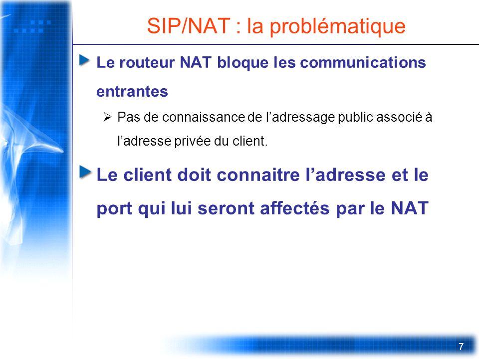7 SIP/NAT : la problématique Le routeur NAT bloque les communications entrantes Pas de connaissance de ladressage public associé à ladresse privée du