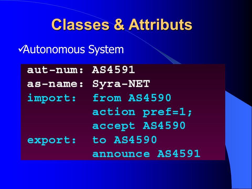 Autonomous System Classes & Attributs