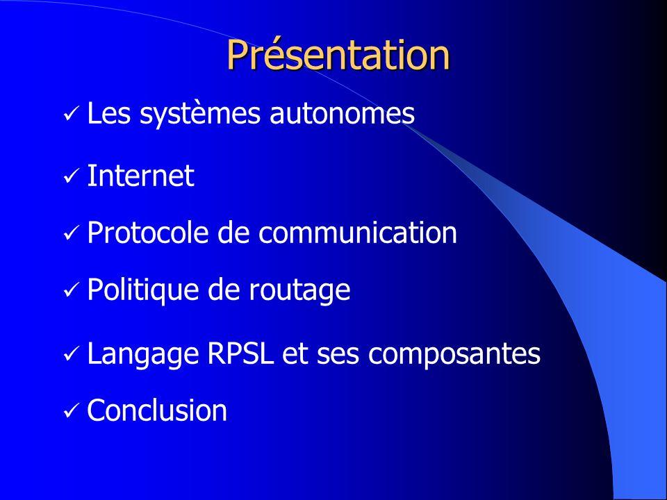Présentation Les systèmes autonomes Internet Protocole de communication Politique de routage Langage RPSL et ses composantes Conclusion