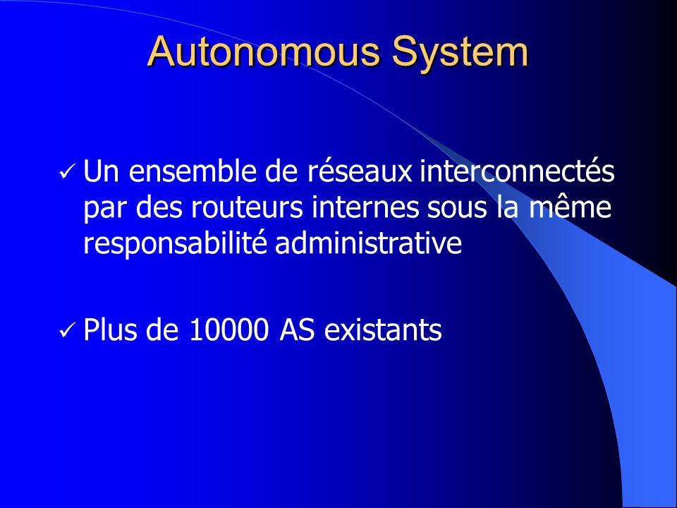Autonomous System Un ensemble de réseaux interconnectés par des routeurs internes sous la même responsabilité administrative Plus de 10000 AS existant