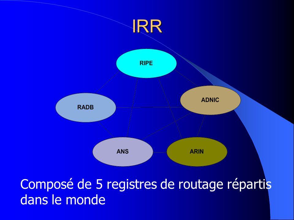 IRR Composé de 5 registres de routage répartis dans le monde