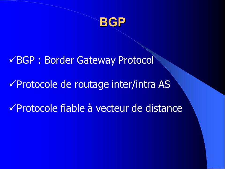 BGP : Border Gateway Protocol Protocole de routage inter/intra AS Protocole fiable à vecteur de distance BGP