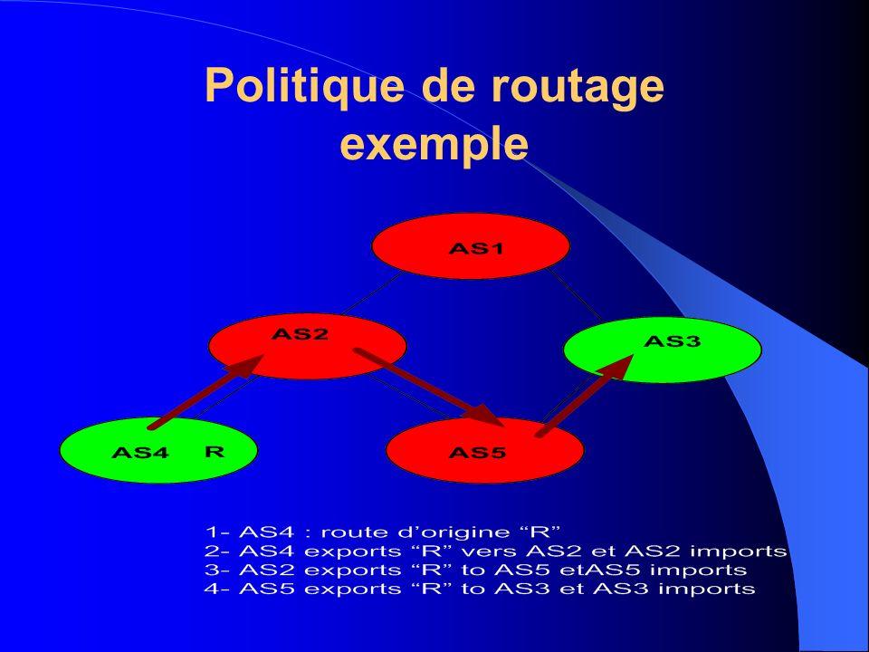 RPSL : Routing Policy Specification Language Langage orienté objet ( RFC 2622 juin 1999) Description de politiques de routage Mise à jour des bases de données du RIPE RPSL