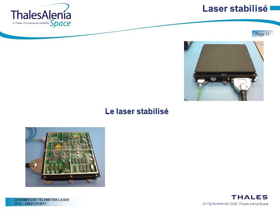 2/20/2009, Thales Alenia Space Page 11 All rights reserved, JOURNEES DE TELEMETRIE LASER OCA – 20&21/10/2011 Laser stabilisé Le laser stabilisé
