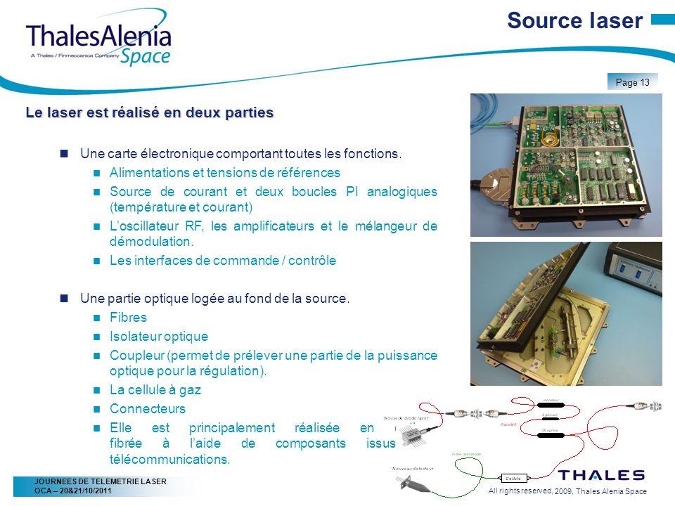 2/20/2009, Thales Alenia Space Page 13 All rights reserved, JOURNEES DE TELEMETRIE LASER OCA – 20&21/10/2011 Source laser Le laser est réalisé en deux