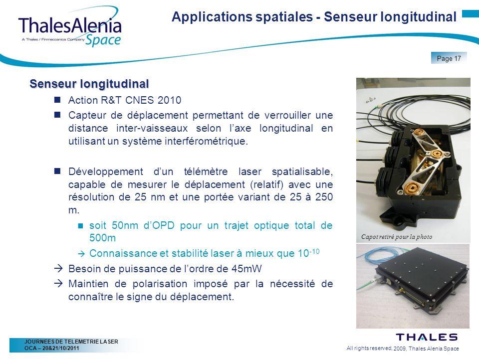 2/20/2009, Thales Alenia Space Page 17 All rights reserved, JOURNEES DE TELEMETRIE LASER OCA – 20&21/10/2011 Senseur longitudinal Action R&T CNES 2010