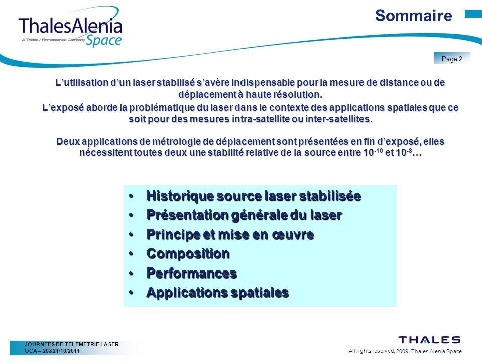 2/20/2009, Thales Alenia Space Page 23 All rights reserved, JOURNEES DE TELEMETRIE LASER OCA – 20&21/10/2011 Applications spatiales – Mesure 3D En pratique Laser à maintient de polarisation (1.55 ou 1.064µm) Puissance de qq mW Injection de trois faisceaux dans linterféromètre Stabilité angulaire inter-faisceaux ~ 5µrad Stabilité de lensemble des trois faisceaux ~ 20µrad Polarisation circulaire à linjection Lame ¼ donde dans un des bras de linstrument Pour chaque faisceau en sortie de linstrument Séparation des polarisations Détection et amplification Acquisition synchrone avec les données science (vidéo) Traitement à bord en continu… durant 8,5ans