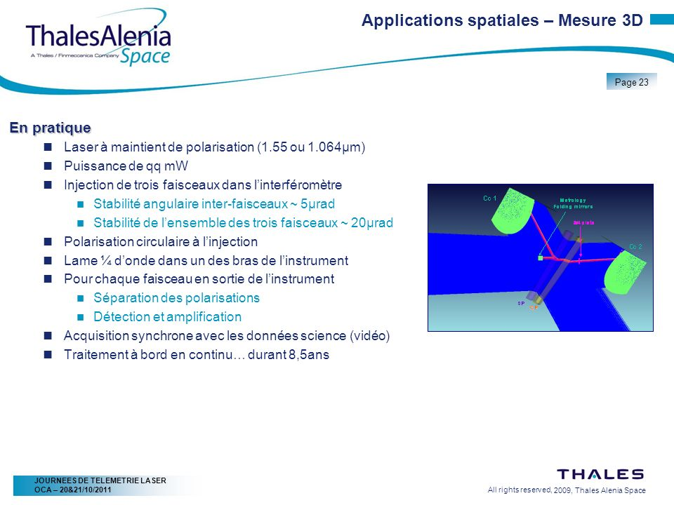 2/20/2009, Thales Alenia Space Page 23 All rights reserved, JOURNEES DE TELEMETRIE LASER OCA – 20&21/10/2011 Applications spatiales – Mesure 3D En pra
