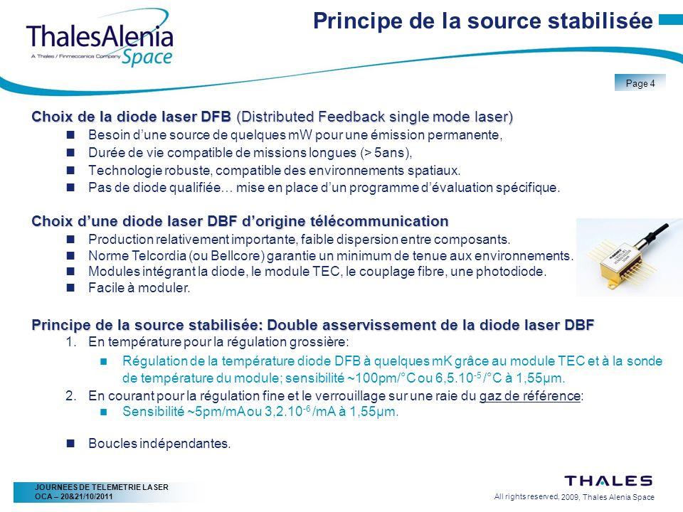 2/20/2009, Thales Alenia Space Page 4 All rights reserved, JOURNEES DE TELEMETRIE LASER OCA – 20&21/10/2011 Principe de la source stabilisée Choix de
