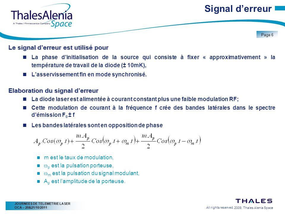 2/20/2009, Thales Alenia Space Page 7 All rights reserved, JOURNEES DE TELEMETRIE LASER OCA – 20&21/10/2011 Signal derreur Une petite partie du signal laser traverse la cellule à gaz, Les composantes du spectre sont affectées différemment par ce filtre, Le signal derrière la cellule à gaz est détecté par un photorécepteur rapide (fréquence de modulation), Le signal est ensuite mixé avec le signal RF modulant (f) la diode laser, Il en résulte une composante continue dont lamplitude est proportionnelle à la différence des bandes latérales détectées.