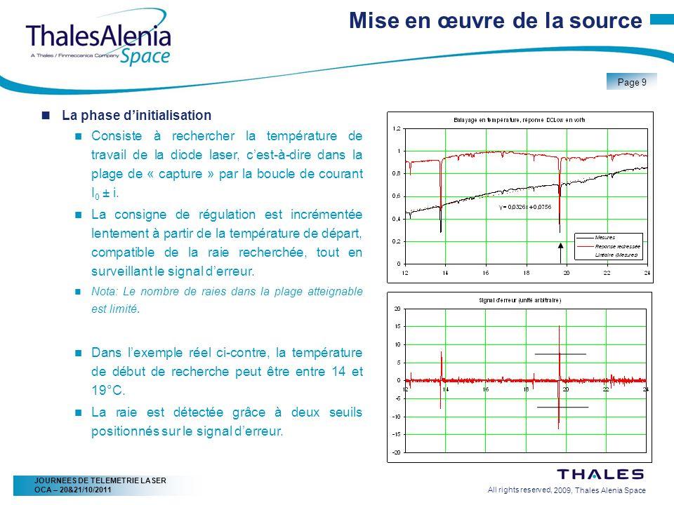 2/20/2009, Thales Alenia Space Page 9 All rights reserved, JOURNEES DE TELEMETRIE LASER OCA – 20&21/10/2011 Mise en œuvre de la source La phase diniti