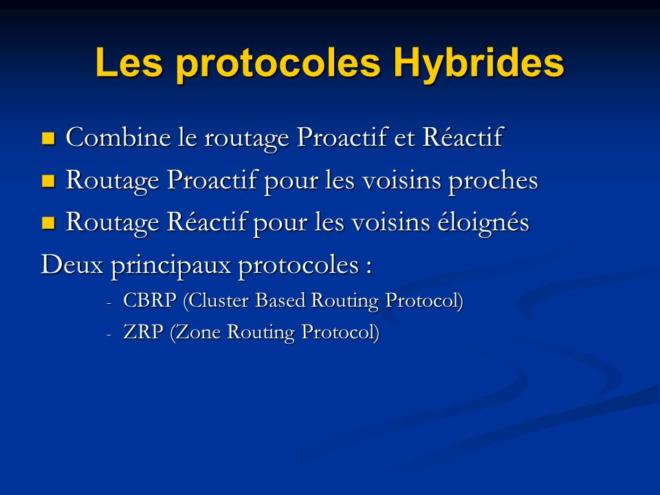 Les protocoles Hybrides Combine le routage Proactif et Réactif Combine le routage Proactif et Réactif Routage Proactif pour les voisins proches Routag