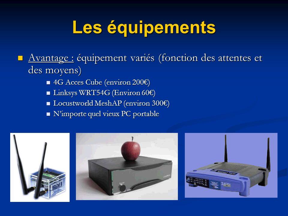 Les équipements Avantage : équipement variés (fonction des attentes et des moyens) Avantage : équipement variés (fonction des attentes et des moyens)