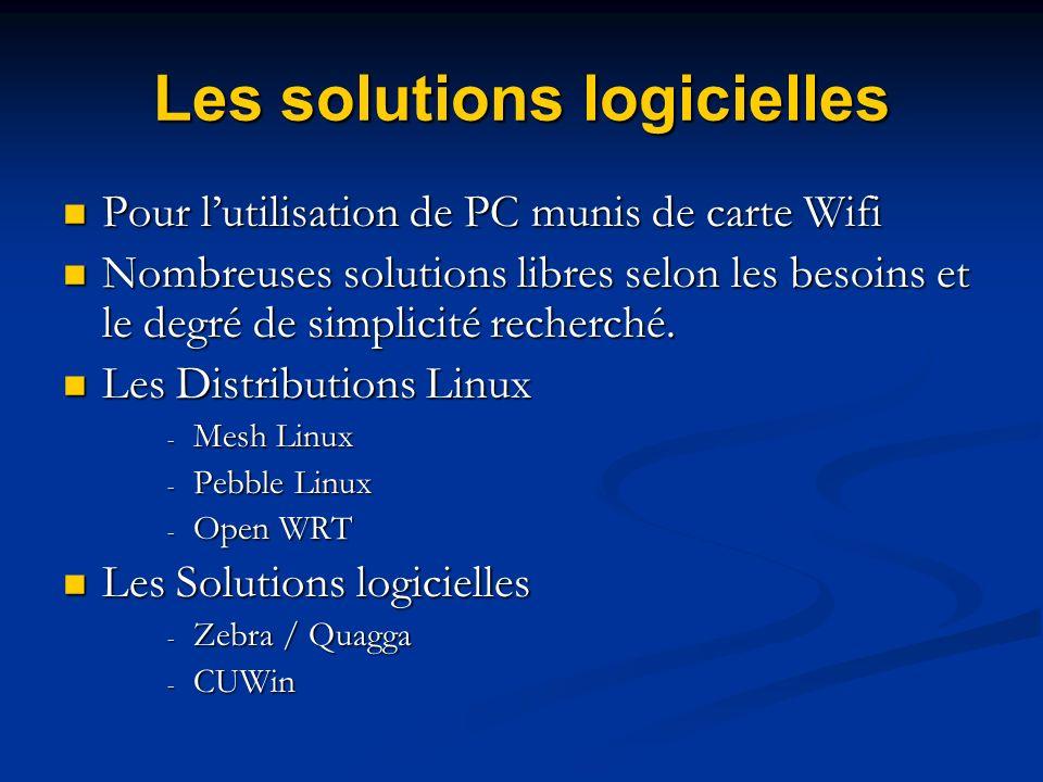 Les solutions logicielles Pour lutilisation de PC munis de carte Wifi Pour lutilisation de PC munis de carte Wifi Nombreuses solutions libres selon le