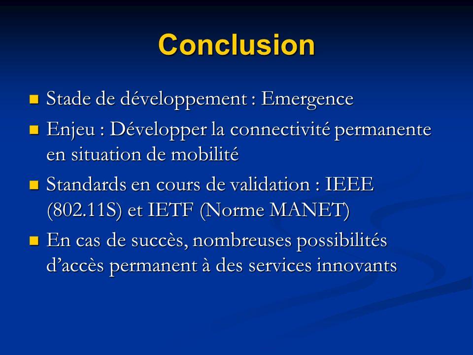 Conclusion Stade de développement : Emergence Stade de développement : Emergence Enjeu : Développer la connectivité permanente en situation de mobilit