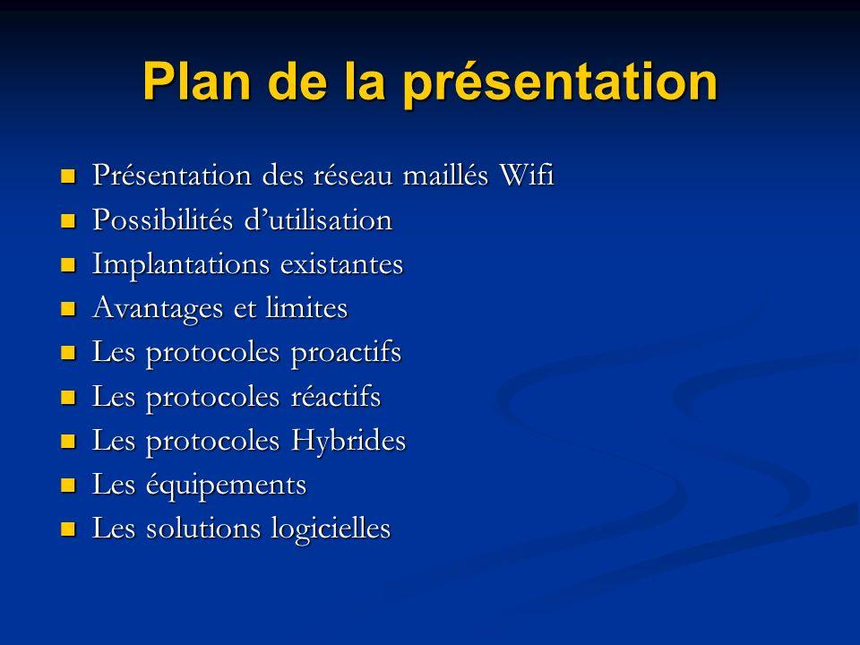 Plan de la présentation Présentation des réseau maillés Wifi Présentation des réseau maillés Wifi Possibilités dutilisation Possibilités dutilisation