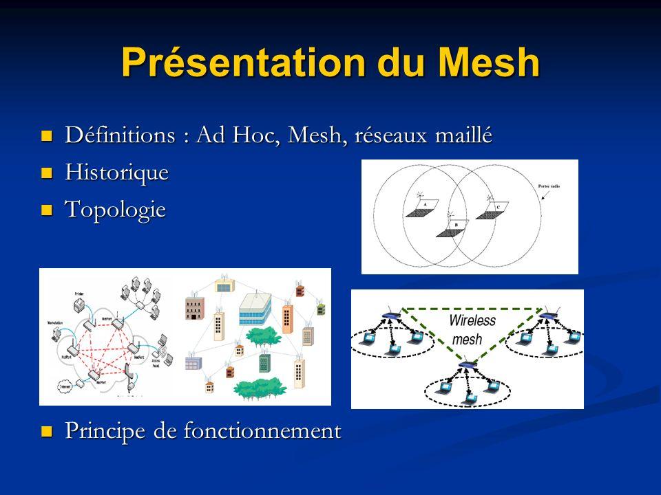 Présentation du Mesh Définitions : Ad Hoc, Mesh, réseaux maillé Définitions : Ad Hoc, Mesh, réseaux maillé Historique Historique Topologie Topologie P