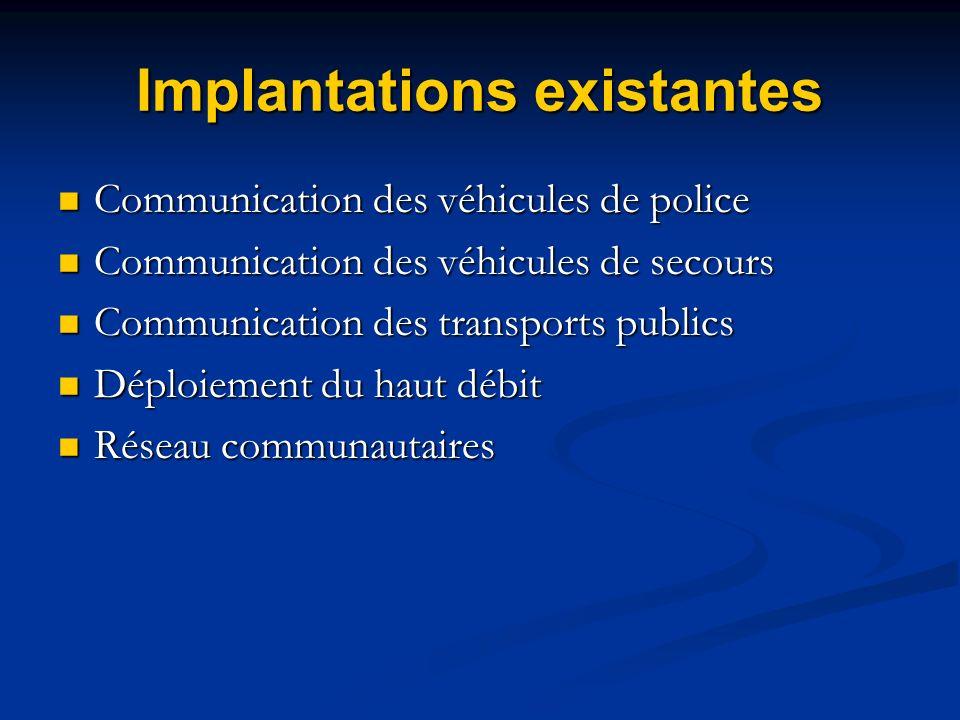Implantations existantes Communication des véhicules de police Communication des véhicules de police Communication des véhicules de secours Communicat