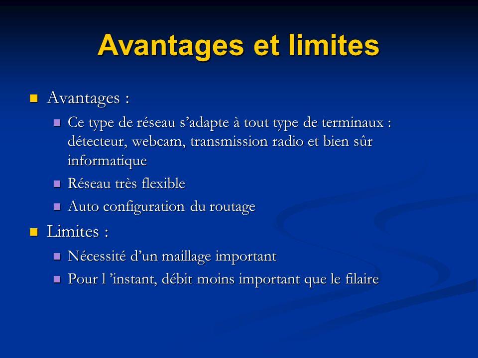 Avantages et limites Avantages : Avantages : Ce type de réseau sadapte à tout type de terminaux : détecteur, webcam, transmission radio et bien sûr in