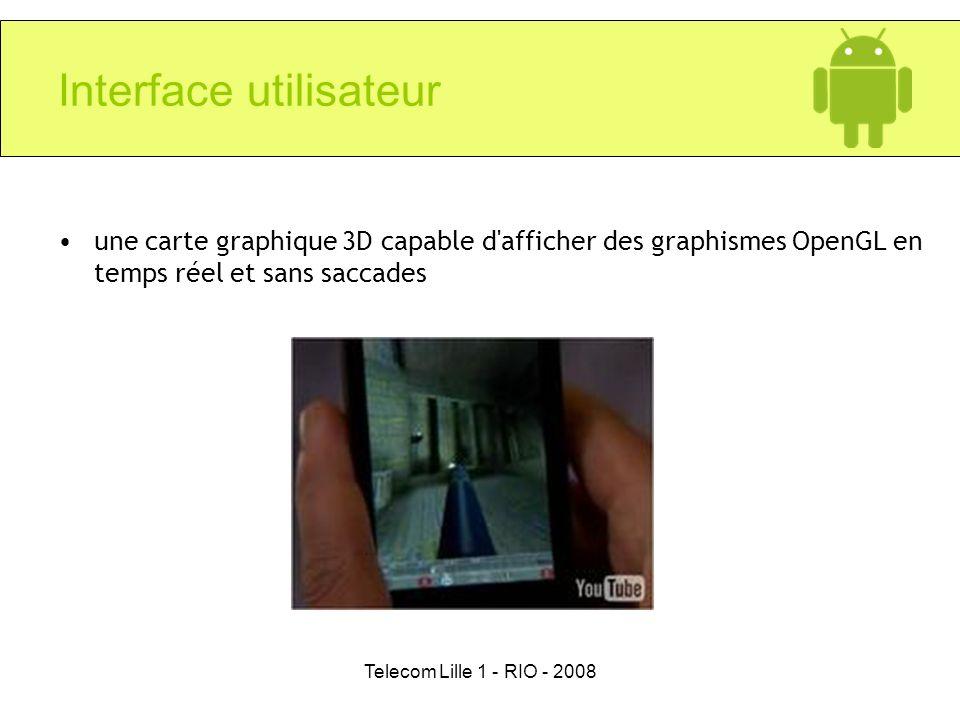 Telecom Lille 1 - RIO - 2008 Interface utilisateur une carte graphique 3D capable d'afficher des graphismes OpenGL en temps réel et sans saccades