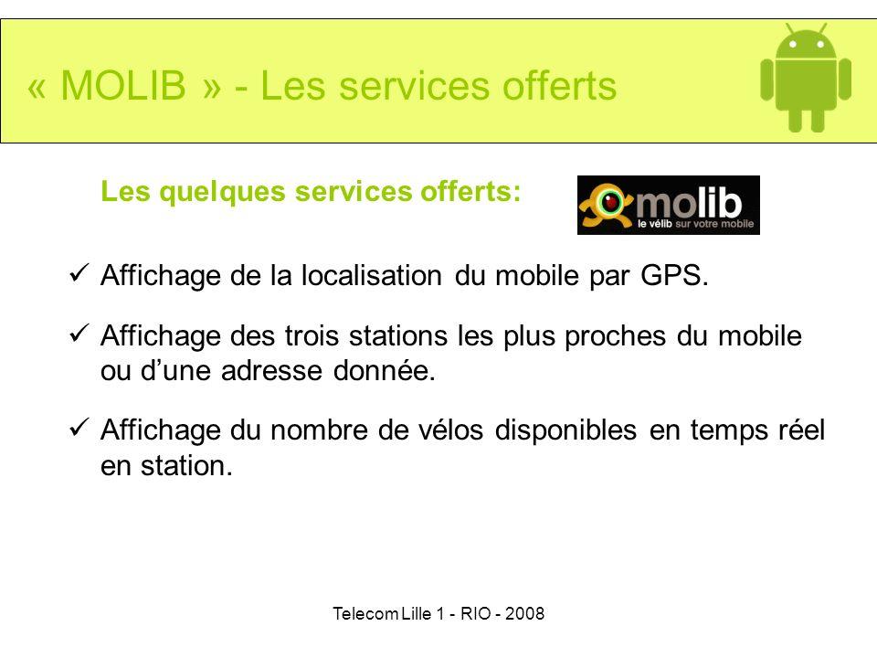 Telecom Lille 1 - RIO - 2008 « MOLIB » - Les services offerts Les quelques services offerts: Affichage de la localisation du mobile par GPS. Affichage